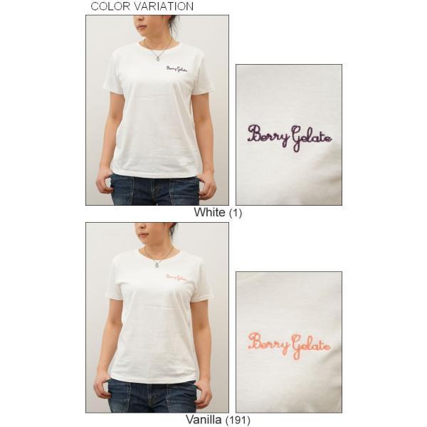 レディース Berry Gelate オリジナル 刺繍 半袖 Tシャツ ベリー ジェラート クルーネック 厚手 無地 カットソー 透けない シンプル 白 黒 LST-BERRY|robinjeansbug|04