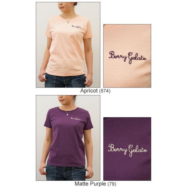 レディース Berry Gelate オリジナル 刺繍 半袖 Tシャツ ベリー ジェラート クルーネック 厚手 無地 カットソー 透けない シンプル 白 黒 LST-BERRY|robinjeansbug|05