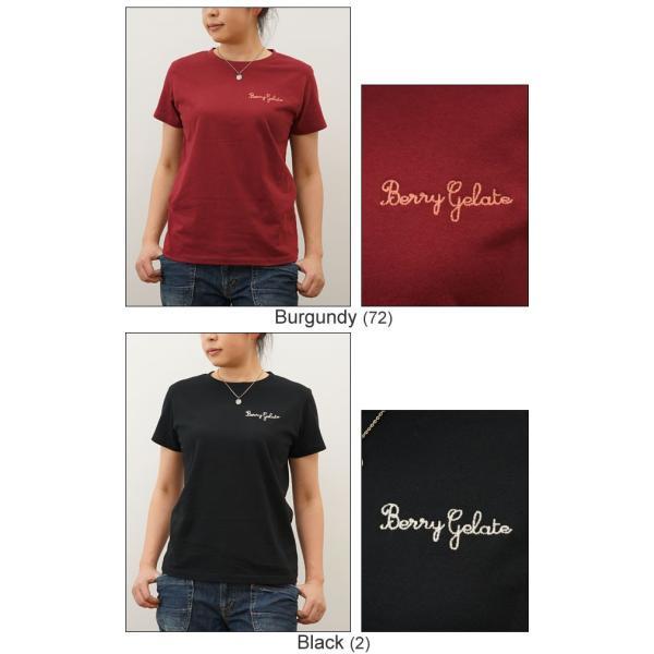 レディース Berry Gelate オリジナル 刺繍 半袖 Tシャツ ベリー ジェラート クルーネック 厚手 無地 カットソー 透けない シンプル 白 黒 LST-BERRY|robinjeansbug|06