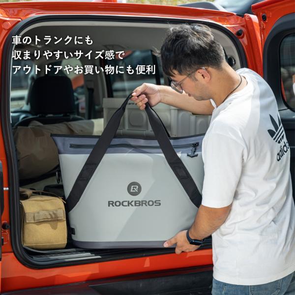 クーラーボックス 保冷バッグ ソフトクーラー トートバッグ型 超保冷 48時間保冷 4層構造 釣り BBQ キャンプ|rockbros|12