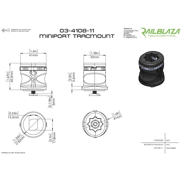 Rail Blaza (レイルブレイザ) ミニポートトラックマウントベース カヤック パーツ|rockfish-link|05