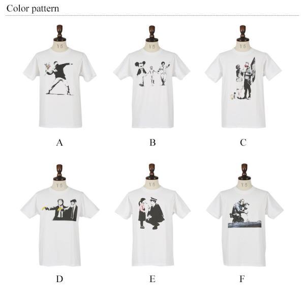バンクシー banksy プリントTシャツ メンズ 半袖 グラフィック ロゴ キャラクター|rockymonroe|02