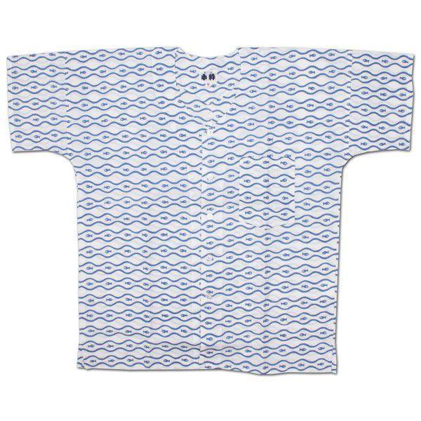 本染 てぬぐいシャツ 魚 No.3白 140(子供用)