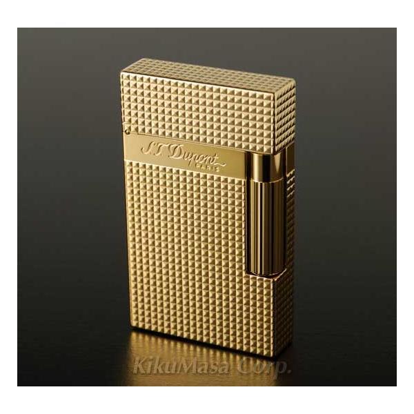 S.T.Dupont エス テー デュポン ガスライター ライン2 016284 ダイアモンドヘッドカット ゴールドフィニッシュ 金色
