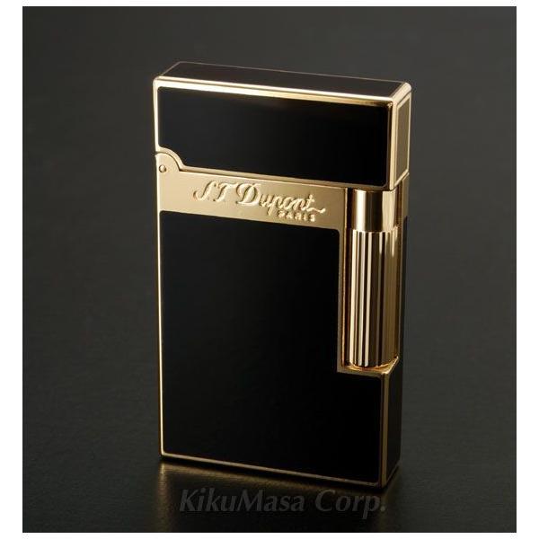 S.T.Dupont エス テー デュポン ガスライター ライン2 ブラックラッカー×ゴールドプレート 016884 黒 金色