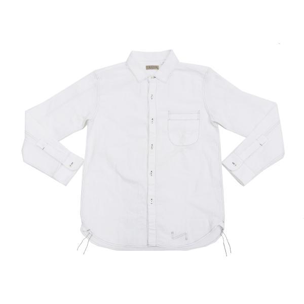 フェローズ クラシック ワークシャツ Pherrows フロンティアシリーズ 無地 長袖シャツ 20S-100W 白 新品 rodeomatubara 03