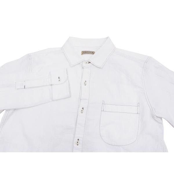 フェローズ クラシック ワークシャツ Pherrows フロンティアシリーズ 無地 長袖シャツ 20S-100W 白 新品 rodeomatubara 04