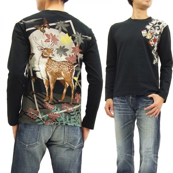 華鳥風月 和柄 長袖Tシャツ 花札 猪鹿蝶 刺繍ロンT 373152 黒 新品|rodeomatubara