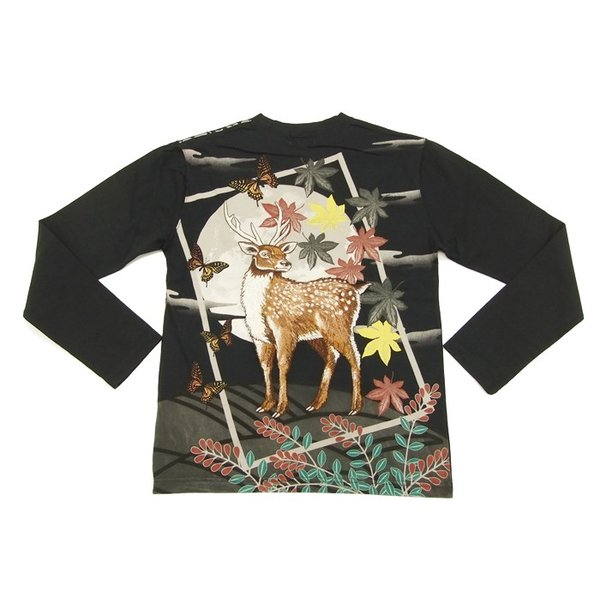 華鳥風月 和柄 長袖Tシャツ 花札 猪鹿蝶 刺繍ロンT 373152 黒 新品|rodeomatubara|03
