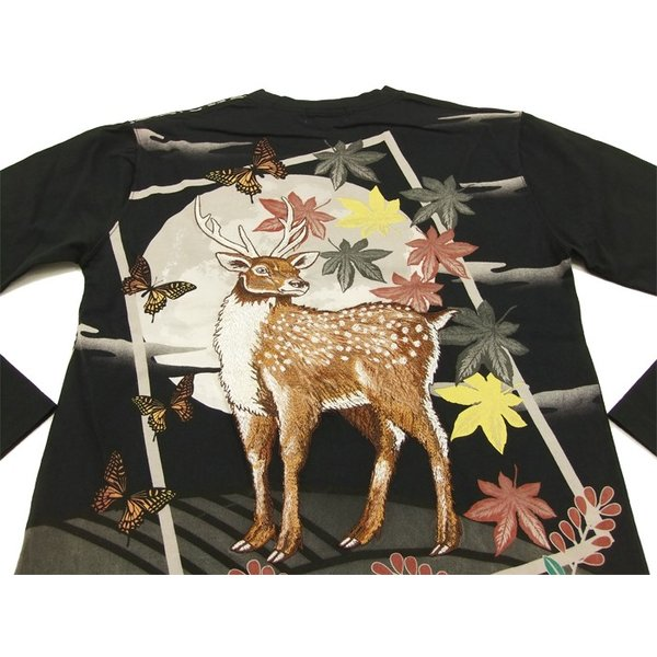 華鳥風月 和柄 長袖Tシャツ 花札 猪鹿蝶 刺繍ロンT 373152 黒 新品|rodeomatubara|04