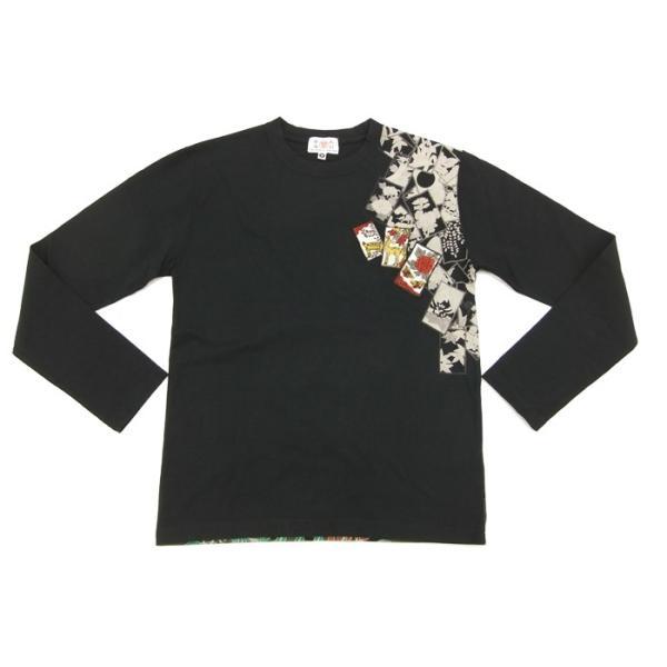華鳥風月 和柄 長袖Tシャツ 花札 猪鹿蝶 刺繍ロンT 373152 黒 新品|rodeomatubara|05