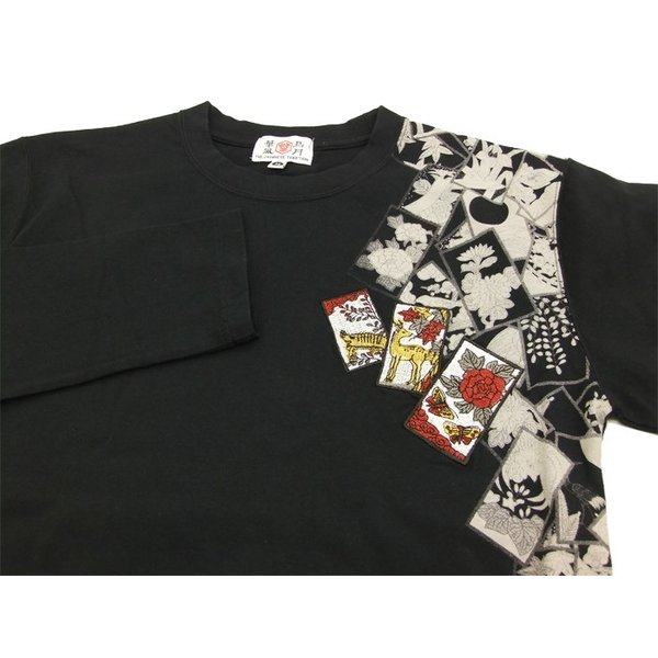 華鳥風月 和柄 長袖Tシャツ 花札 猪鹿蝶 刺繍ロンT 373152 黒 新品|rodeomatubara|06