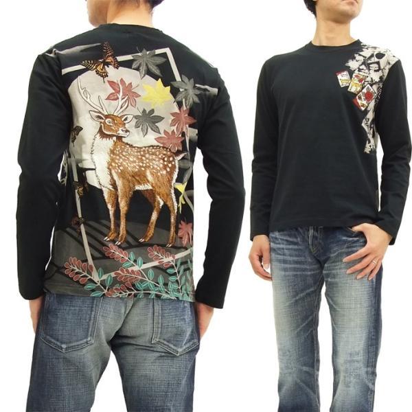華鳥風月 和柄 長袖Tシャツ 花札 猪鹿蝶 刺繍ロンT 373152 黒 新品|rodeomatubara|08