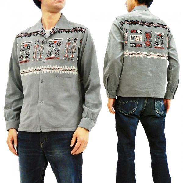 スタイルアイズ コーデュロイスポーツシャツ TRIBE MOTIFS ネイティブ柄 東洋エンタープライズ 長袖シャツ SE27989 グレー 新品|rodeomatubara