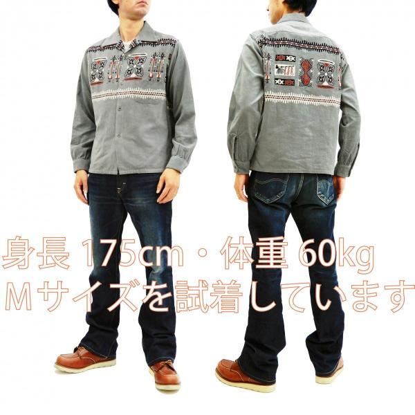 スタイルアイズ コーデュロイスポーツシャツ TRIBE MOTIFS ネイティブ柄 東洋エンタープライズ 長袖シャツ SE27989 グレー 新品|rodeomatubara|02
