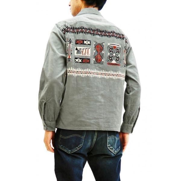 スタイルアイズ コーデュロイスポーツシャツ TRIBE MOTIFS ネイティブ柄 東洋エンタープライズ 長袖シャツ SE27989 グレー 新品|rodeomatubara|11