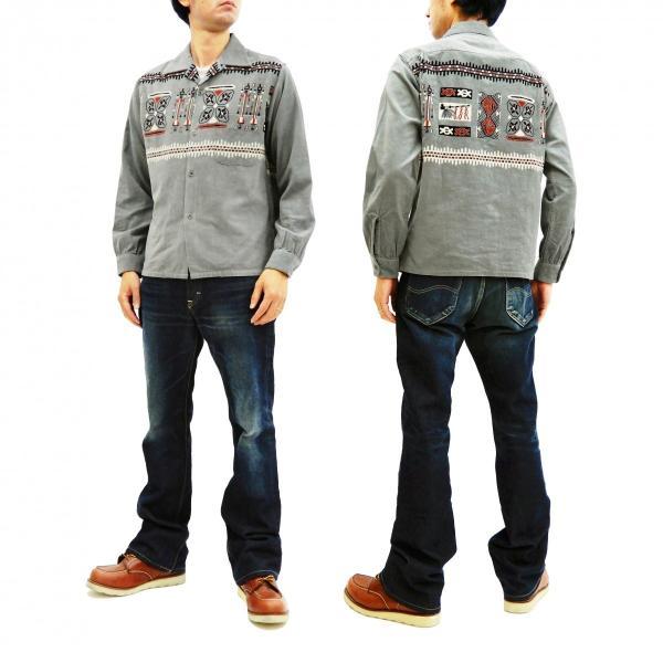 スタイルアイズ コーデュロイスポーツシャツ TRIBE MOTIFS ネイティブ柄 東洋エンタープライズ 長袖シャツ SE27989 グレー 新品|rodeomatubara|12