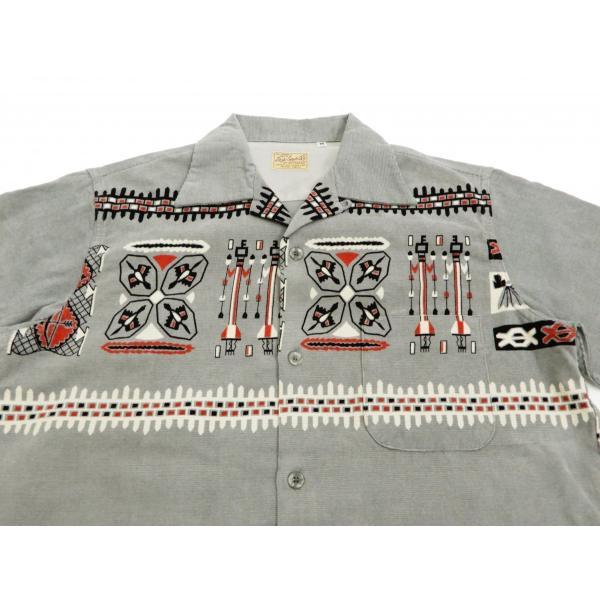 スタイルアイズ コーデュロイスポーツシャツ TRIBE MOTIFS ネイティブ柄 東洋エンタープライズ 長袖シャツ SE27989 グレー 新品|rodeomatubara|04