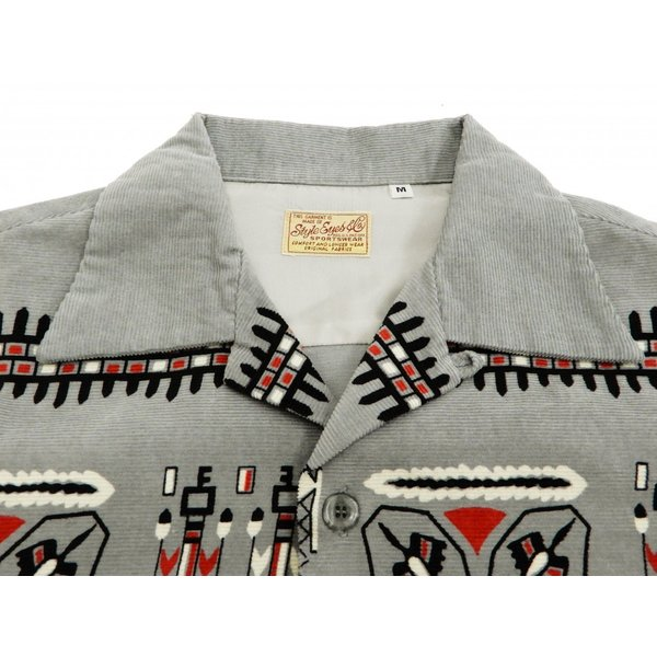 スタイルアイズ コーデュロイスポーツシャツ TRIBE MOTIFS ネイティブ柄 東洋エンタープライズ 長袖シャツ SE27989 グレー 新品|rodeomatubara|05