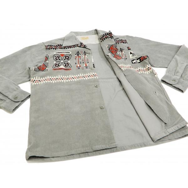スタイルアイズ コーデュロイスポーツシャツ TRIBE MOTIFS ネイティブ柄 東洋エンタープライズ 長袖シャツ SE27989 グレー 新品|rodeomatubara|06