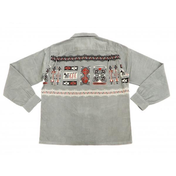 スタイルアイズ コーデュロイスポーツシャツ TRIBE MOTIFS ネイティブ柄 東洋エンタープライズ 長袖シャツ SE27989 グレー 新品|rodeomatubara|07