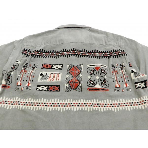 スタイルアイズ コーデュロイスポーツシャツ TRIBE MOTIFS ネイティブ柄 東洋エンタープライズ 長袖シャツ SE27989 グレー 新品|rodeomatubara|08