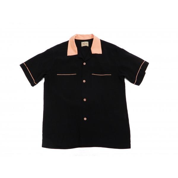 スタイルアイズ ボウリングシャツ SE38073 東洋 半袖シャツ 無地 2トーン ボーリングシャツ ブラック 新品 rodeomatubara 03