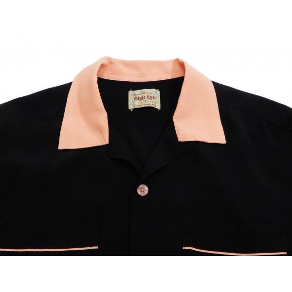 スタイルアイズ ボウリングシャツ SE38073 東洋 半袖シャツ 無地 2トーン ボーリングシャツ ブラック 新品 rodeomatubara 05