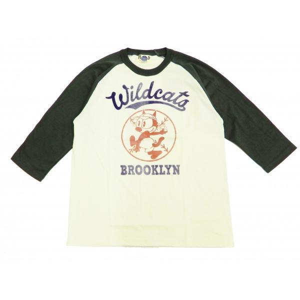トイズマッコイ 七分袖Tシャツ フィリックス TOYS McCOY ラグラン ベースボールTシャツ TMC1944 オフ白×黒 新品|rodeomatubara|03