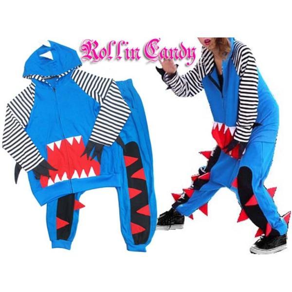 【在庫処分SALE】ギザギザ付き♪怪獣スウェットセットアップ(パーカー+サルエルパンツ) ダンス ダンサー 衣装 ヒップホップ HIPHOP B系 裏原系 大きいサイズ