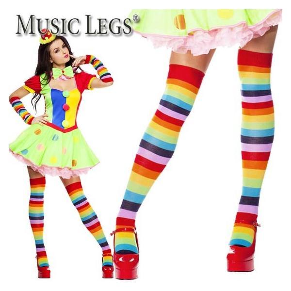 MusicLegs(ミュージックレッグス)レインボーボーダーアクリルサイハイソックスML4874ニーハイオーバーニーソックス靴下