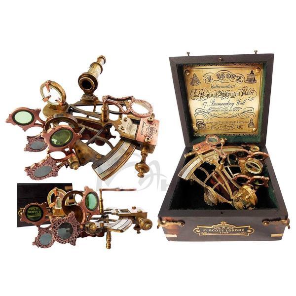 真鍮製 船の航行用 六分儀 ハードウッドボックス(箱)付き 彫刻/ 角距離 天測航法 プトレマイオス ニュートン プレゼント贈り物(輸入品)