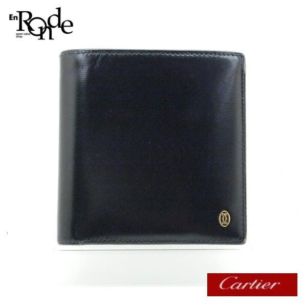カルティエ Cartier 二つ折財布 マスト 二つ折り財布 レザー 黒 中古 ronde