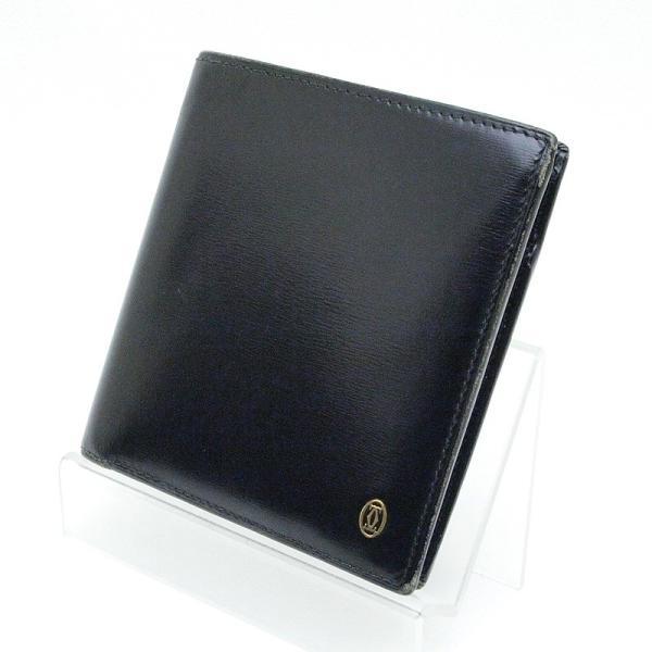 カルティエ Cartier 二つ折財布 マスト 二つ折り財布 レザー 黒 中古|ronde|02