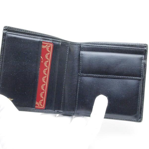 カルティエ Cartier 二つ折財布 マスト 二つ折り財布 レザー 黒 中古|ronde|04