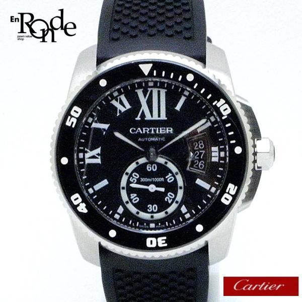 カルティエ Cartier メンズ腕時計 カリブルドゥカルティエ ダイバー W7100056 ステンレス/ラバー 黒文字盤 中古|ronde