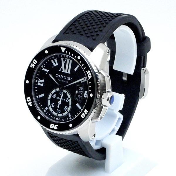 カルティエ Cartier メンズ腕時計 カリブルドゥカルティエ ダイバー W7100056 ステンレス/ラバー 黒文字盤 中古|ronde|02