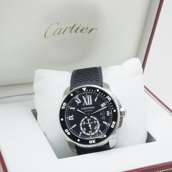 カルティエ Cartier メンズ腕時計 カリブルドゥカルティエ ダイバー W7100056 ステンレス/ラバー 黒文字盤 中古|ronde|06