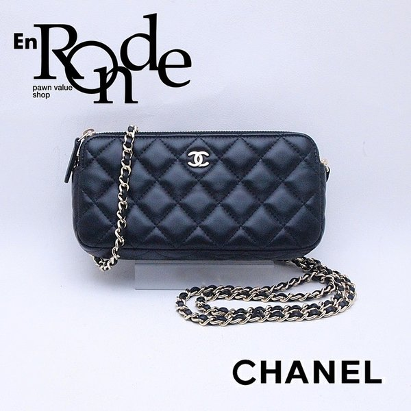シャネル CHANEL 長財布 チェーンウォレット A82527 ラムスキン ブラック 中古 新入荷 おすすめ|ronde
