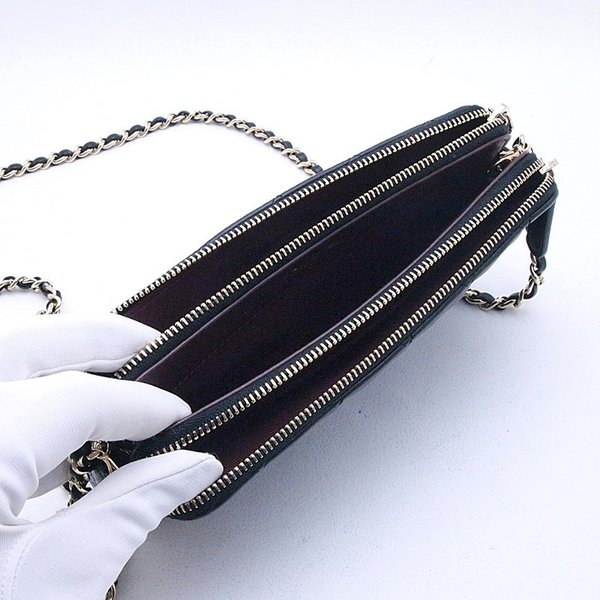 シャネル CHANEL 長財布 チェーンウォレット A82527 ラムスキン ブラック 中古 新入荷 おすすめ|ronde|04
