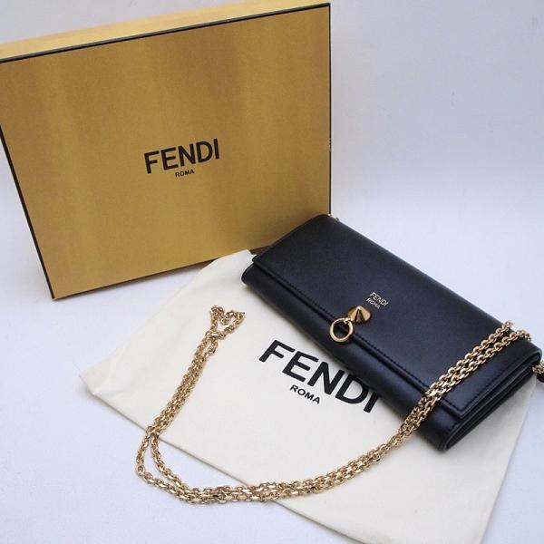 フェンディ 長財布 チェーンウォレット 8M0365 レザー ブラック 中古 新入荷 おすすめ 新着
