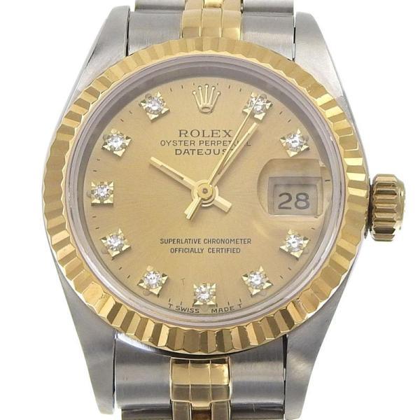 ロレックスROLEXデイトジャストレディース自動巻き腕時計SSYG10Pダイヤシャンパン文字盤69173GS番1993年中古新