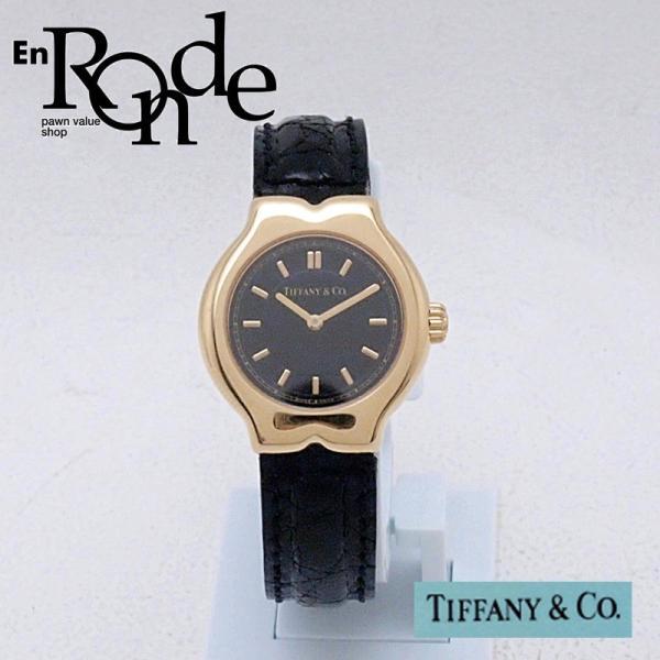 ティファニー Tiffany レディース腕時計 テソロ LQ0130 K18/革 ブラック文字盤 中古 新入荷 おすすめ TI0058 新着|ronde