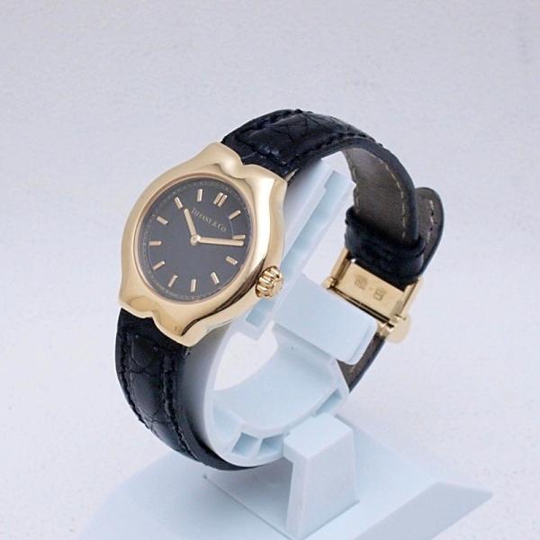 ティファニー Tiffany レディース腕時計 テソロ LQ0130 K18/革 ブラック文字盤 中古 新入荷 おすすめ TI0058 新着|ronde|02