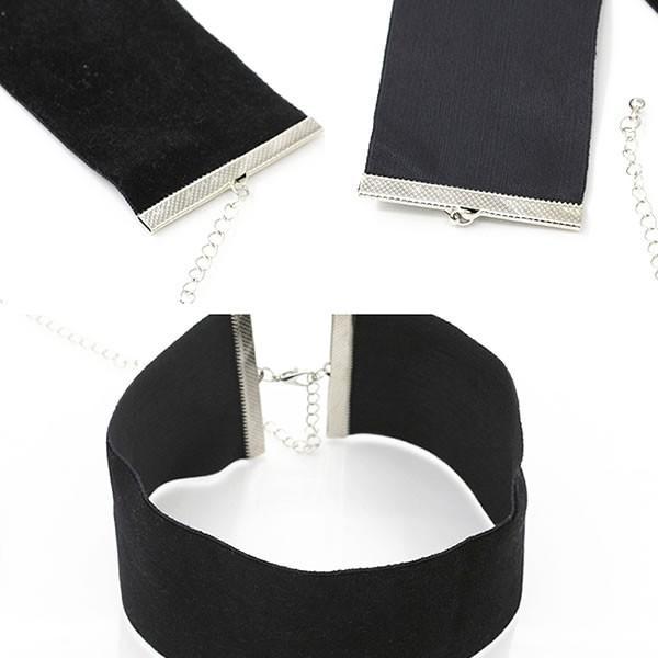 ベロアリボン チョーカー ネックレス 幅広 黒 ブラックアクセ ブラック ネコポス可
