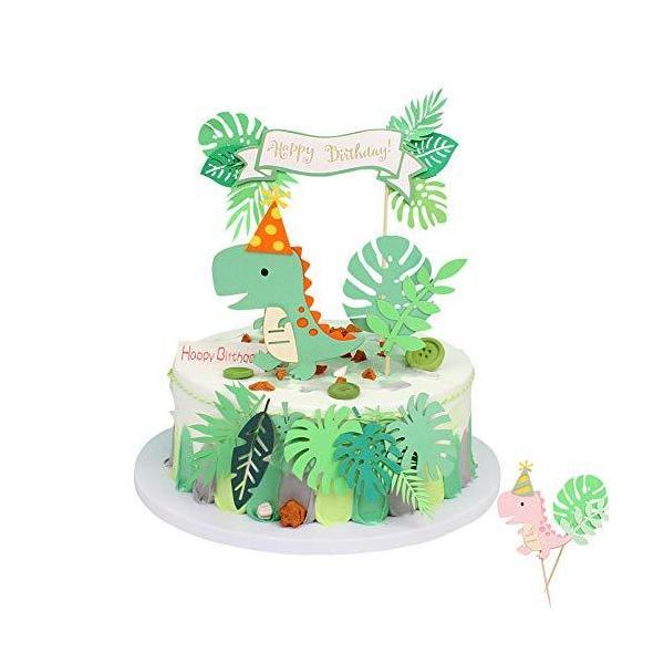 ケーキトッパー誕生日ケーキ飾り恐竜happybirthday緑の葉夏飾り女の子男の子誕生日パーティー飾り…