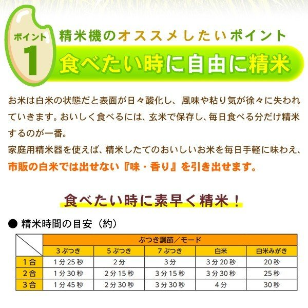 精米機 家庭用 自宅用 精米器 精米御膳 米びつ 1合 2合 3合 ツインバード TWINBIRD MR-E800W ホワイト|roomdesign|03