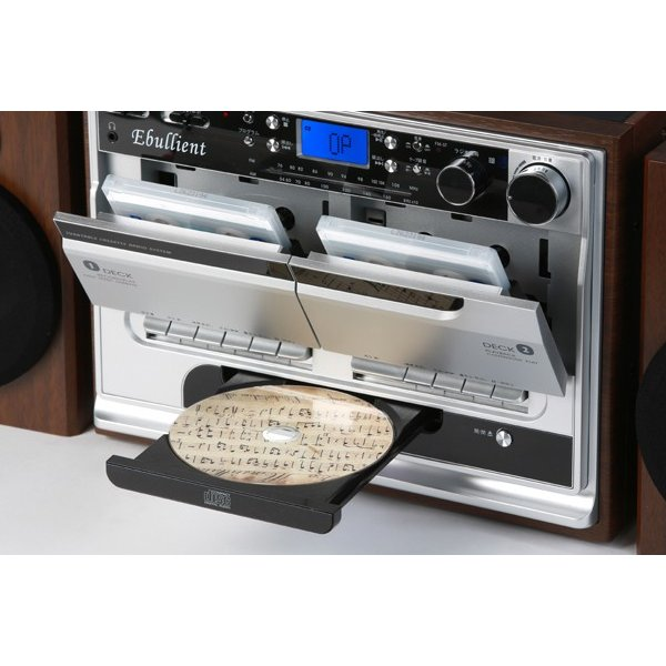 レコードプレーヤー ダブルカセット ダビングプレーヤー CDプレーヤー とうしょう ブラック 木目調ブラウン TCD-389|roomdesign|02