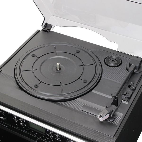 レコードプレーヤー ダブルカセット ダビングプレーヤー CDプレーヤー とうしょう ブラック 木目調ブラウン TCD-389|roomdesign|03