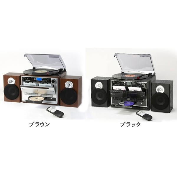 レコードプレーヤー ダブルカセット ダビングプレーヤー CDプレーヤー とうしょう ブラック 木目調ブラウン TCD-389|roomdesign|05
